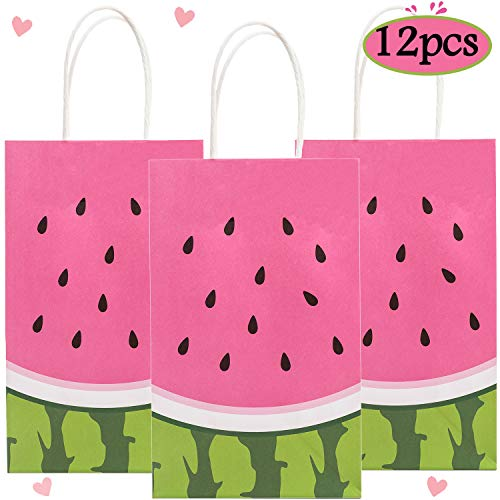 Funnlot Watermelon Gift Bags Summer Gift Bags Watermelon Party Supplies 12PCS Watermelon Goodie Bags Watermelon Party Bags Watermelon Party Favor Bags for Kids Birthday Party Decorations