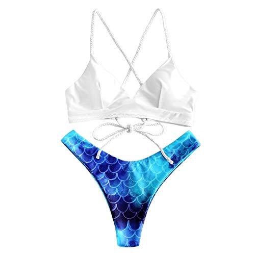 ZAFUL - Bikini para mujer con encaje floral y diseño de hojas Multi-a S