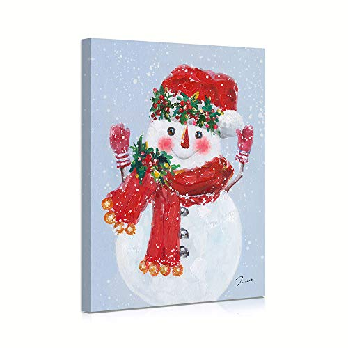 B BLINGBLING Christmas Snowman Wall Art Canvas Prints for Living Room, Snowman Wearing Scarf Hat Chritmas Pictures for Kids Bedroom Decorations Merry 12x16