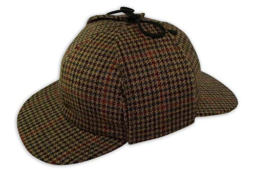 Pasquale Cutarelli Pasquale Cutarelli Tweed Sherlock Holmes Deerstalker Herrenmütze aus Wolle Braun 55cm