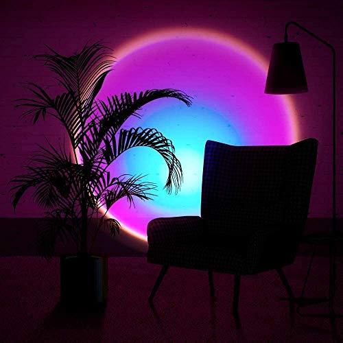 SAONE Lámpara de pie de proyección Sunset, rotación de 90 grados, lámpara de decoración de Atmósfera roja en la sala de estar, barra USB moderna lámpara de noche para dormitorio (arco iris)