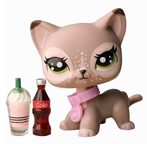 Judylovelps Custom Shorthair Cat, lps Wapiti Shorthair Cat Tan with Green Eyes Spots Cat with Accessories Kids Gift