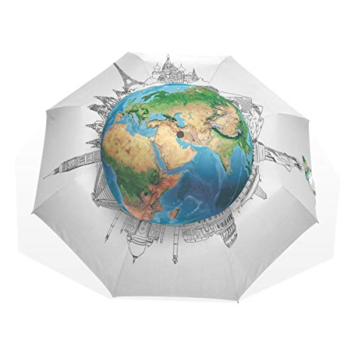 LASINSU Regenschirm,Erde realistische Globus Planet Print,Faltbar Kompakt Sonnenschirm UV Schutz Winddicht Regenschirm