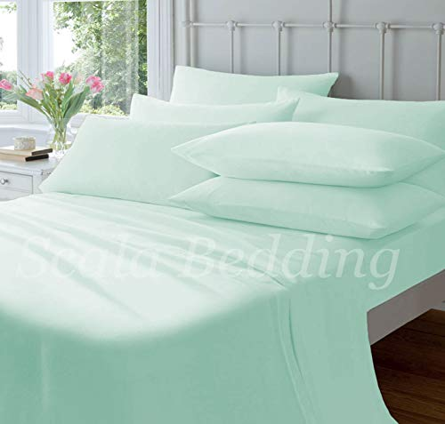 "Pride Beddings - Solid Pattern- Bed Sheet Set 100% Egyptian Cotton 600 TC-6 Piece -King Fits mattresses 15"" Deep Pocket-Aqua Color"