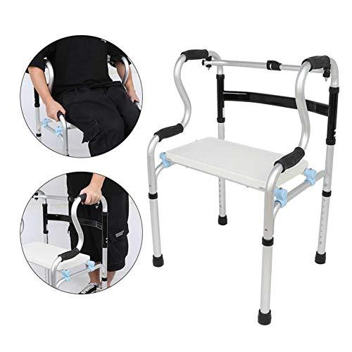 XKRSBS Andador Plegable para Ancianos - Andador Adulto - Andador médico portátil con Altura Ajustable de 30-37 Pulgadas ⭐
