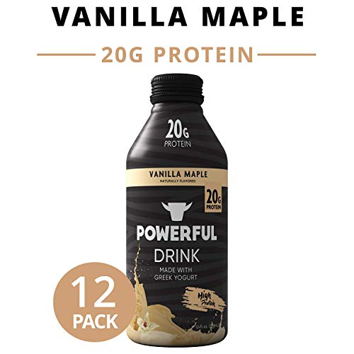 Powerful Drink – Protein Shake, Meal Replacement Shake, Greek Yogurt, Gluten Free, Ready to Drink, 20g Protein, Vanilla Maple, 12 Pack