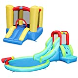 ACTION AIR Bounce House, Bouncy House with Waterslide, Gift Combo Package Included Bouncer & Waterslide, 1 Blower for 2 Inflatables, Kids Bounce House for Backyard Fun (S4CP01)