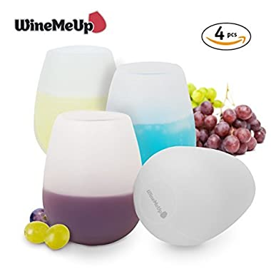 WineMeUp Silicone Wine Glasses for Camping - Stemless Unbreakable Party Cups - Set of 4