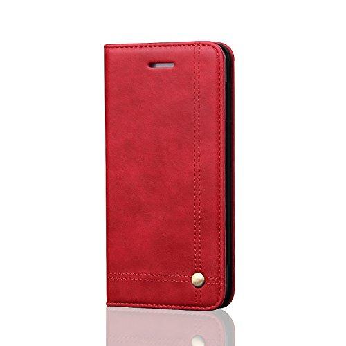 DaGeLon Elegante Cover per iPhone SE iPhone 5S iPhone 5, Moda retrò Libro Custodia Flip Eccellente Raffinato Case Adsorbimento Magnetico Caso Resistente agli Urti Cassa Robusta Premium Pelle, Rosso