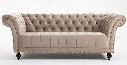 DProT Handmade Chesterfield Sofa Armchair 1.5, 2 or 3 Seater Settee Love Seat Velvet (3 Seater Sofa Beige)