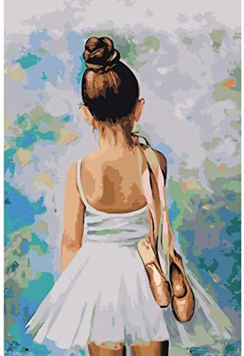 Pintura por número para niños pequeña bailarina pintura al óleo de bricolaje pintura para adultos principiantes digitales -40x50cm