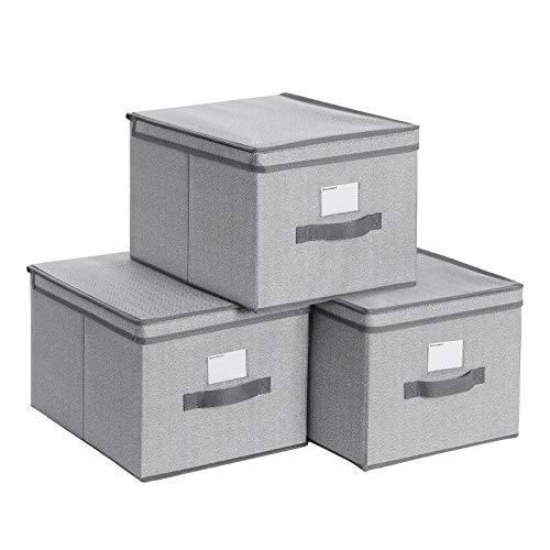 SONGMICS Aufbewahrungsboxen, 3er Set, Faltboxen, Stoffboxen mit Deckel und Etikettenhalter, 40 x 30 x 25 cm, faltbar, Vliesstoff in Leinenoptik, grauRFB003G01