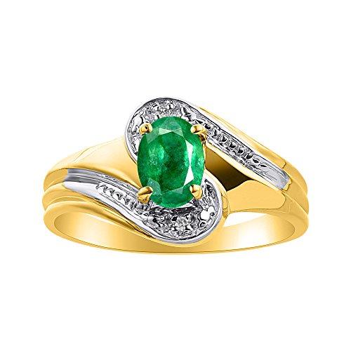 Juego de anillos de diamante y esmeralda en oro amarillo de 14 quilates – Anillo de piedra de nacimiento de color