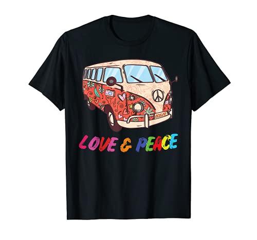 Flower Power Van, Retro 60er 70er Jahre Hippie Bus Outfit T-Shirt