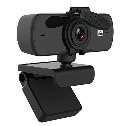 Webcam 2K Full HD Cámara Web Enfoque Automático USB con Micrófono CAM para Mac Laptop Ordenador Video En Vivo Streaming LQWT (Color : Black)