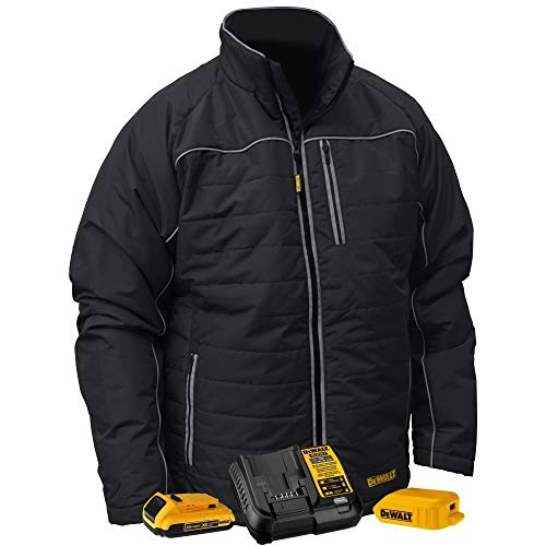 DEWALT Mens Black Quilted Polyfil Heated Jacket Kit with...