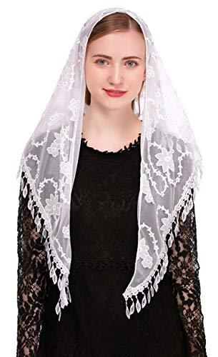 Pamor Dreieckiger Kapellenschleier, Mantilla, Kopfbedeckung, Spitzenschal, Lateinamerikanischer Schal für Mass - Weiß - Einheitsgröße