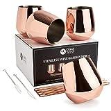 OS Oak & Steel ENGLAND 4 Copas de Vino sin Tallo de Acero Inoxidable en Oro Rosa, Capacidad de 350 ml - Incluye 4 pajillas y un Cepillo de Limpieza