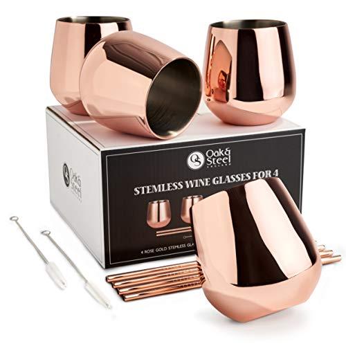 Oak & Steel 4 Elegantes Copas de Vino Sin Tallo de Acero Inoxidable Oro Rosa