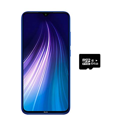 Xiaomi Redmi Note 8 (128GB, 4GB) 6.3',Quad Camera, Dual SIM GSM Factory Unlocked - US & Global 4G LTE International Version (Neptune Blue, 128GB + 64GB SD + Case Bundle)