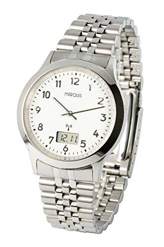 Elegante MARQUIS Herren Funkuhr (Junghans-Uhrwerk) Gehäuse und Armband aus Edelstahl 964.6503