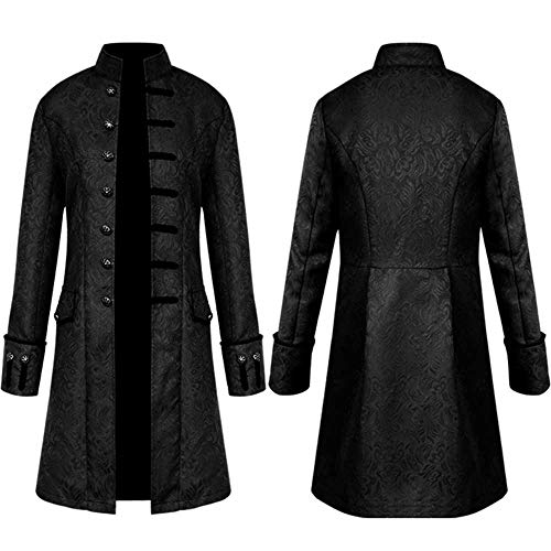FNKDOR Jacket Coat Men Steampunk Vintage Tailcoat Buttons Jacket Overcoat Outwear Tops for Winter Autumn Black
