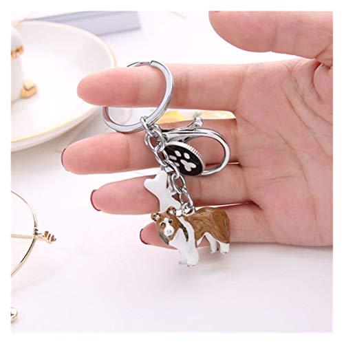 Fxshisnz Schlüsselbund Art und Weise 3D Hund Schlüsselanhänger Cute Dogs Schlüsselanhänger Border-Collie-Metallauto-Schlüsselanhänger Schmuck Frau Tasche Charme Geschenk (Color : 05)