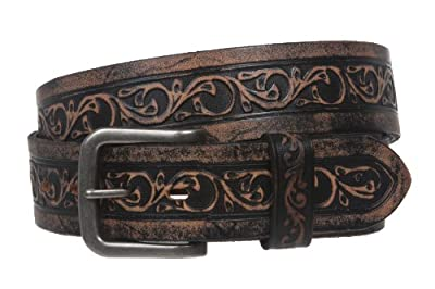 Snap On Soft Hand Floral Embossed Vintage Cowhide Full Grain Leather Casual Belt Size: 40 Color: Black