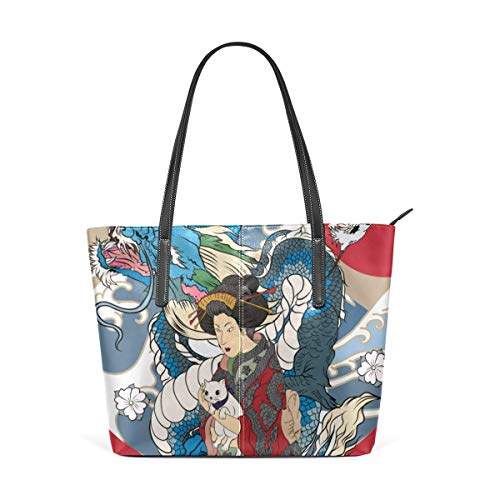 Mode Handtaschen Einkaufstasche Top Griff Umhängetaschen Cute Cartoon Geisha With Japan Travel Large Printed Shoulder Bags Handbag Pu Leather Top Handle Satchel Purse Work Tote Bag For Women Girls