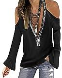 YOINS Blusa de manga larga con hombros descubiertos para mujer, cuello redondo, con lentejuelas...