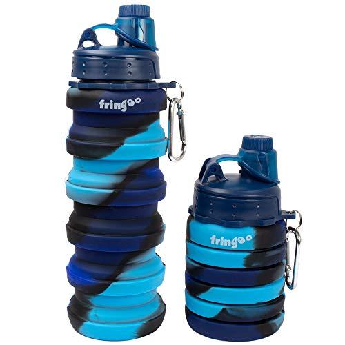 Fringoo - Botella de agua plegable de silicona para niños, 550ml, con mosquetón, 100% a prueba de fugas, sin BPA, botella de viaje, deporte, Infantil, azul, 550 ml