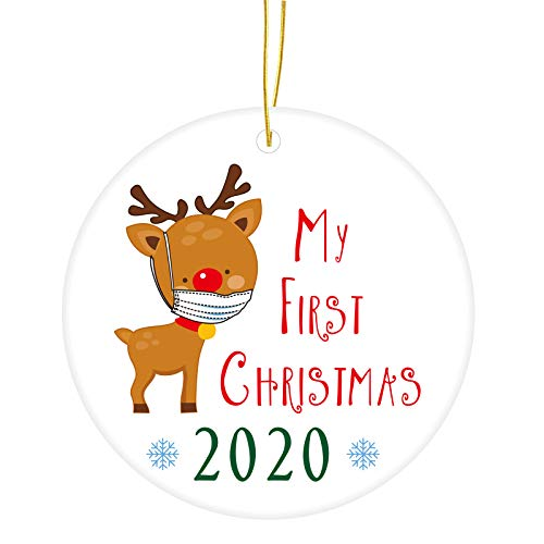 2020 Christmas Ornaments - My First Christmas - Reindeer with Mask Xmas COVID Pandemic Tree Decoration, Snowflake Gift Pouch