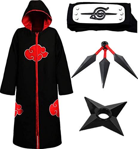 AISHANGYIDE Anime Naruto Equipo Eagle Sasuke Uchiha Cosplay Vestir Halloween Navidad Cumpleaos Carnaval Fiesta Mascarada Disfraz Naruto Headband Kunai Nio Adulto Unisexo Hokage Ninja Accesorios Set