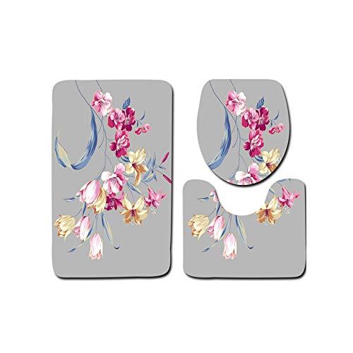 Solarkirin Tapete de baño con diseño de Flores de, Pintado a Mano, Color Negro, Juego de Alfombrilla de baño, Manta de Navidad, decoración de la India, 4,50 x 80 x 50 x 45