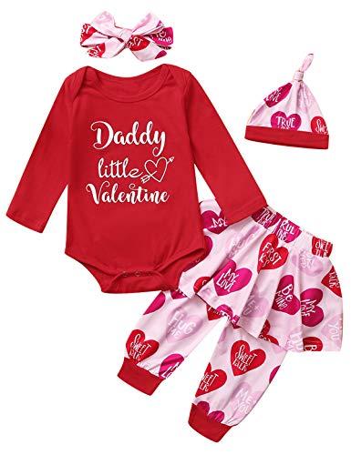 Mutiggee Baby Girls Daddy's Little Valentine Pant Set Happy Valentine's Day Bodysuit with Headband (Red, 3-6 Months)