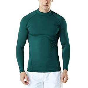 TSLA Men's UPF 50+ Long Sleeve Rash Guard, UV/SPF Quick Dry Swim Shirt, Water Surf Swimming Shirts