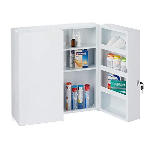 Relaxdays Medizinschrank XXL, 2-türiger Medikamentenschrank, Stahl, 11 Fächer, abschließbar, 53 x 52,5 x 19,5 cm, weiß