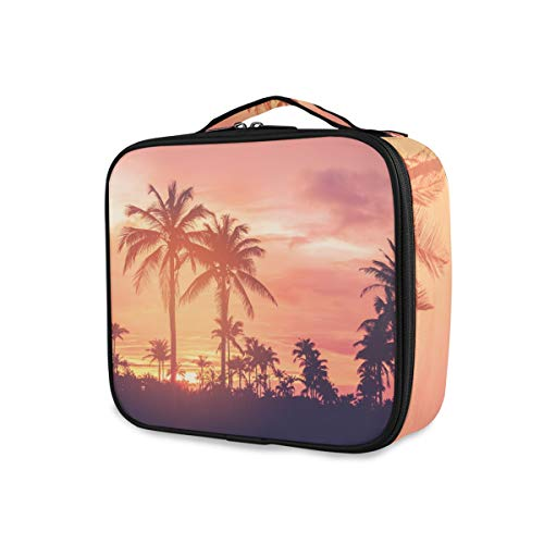 Outils Cosmetic Train Case Sunset Tropical Forest Travel Toiletry Pouch Storage Portable Purse Makeup Bag