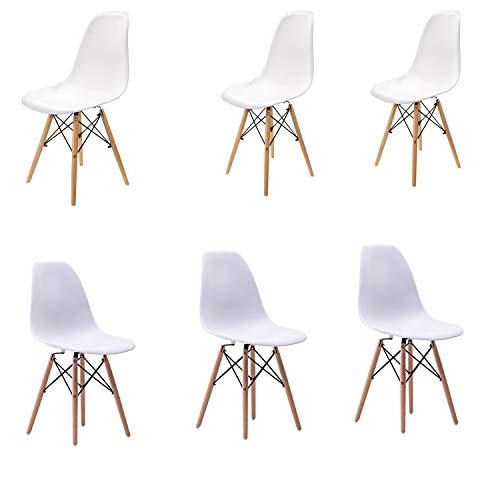 6er-Set Esszimmerstuhl im modernen Stil Mitte Jahrhundert modernen Stuhl Shell Lounge für Küche Esszimmer Schlafzimmer mit skandinavischen Stühlen bequemen Holzstuhl perfekt für Ihr Zuhause (Weiß, 6)