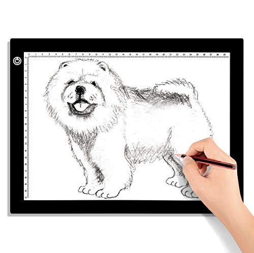 A4 LED Light Box for Tracing, 60 LEDs Light Pad with Scale Ultra-Thin Stepless Brightness Adjustment USB LED Copy Board for Tracing, Tattoo Drawing or X-ray Viewing