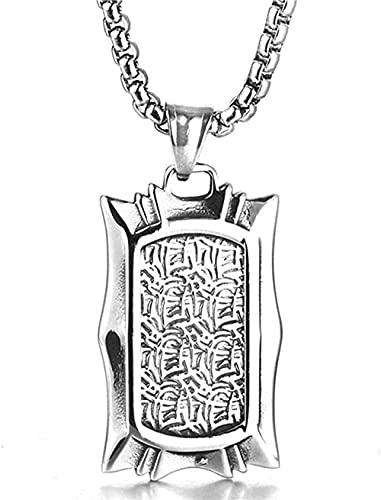 NC198 Collar con Colgante Colgante Largo de Acero de Titanio Collar Retro Colgante de Medalla grabada de Acero Inoxidable