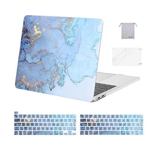MOSISO Compatible with MacBook Pro 13 inch Case 2016-2020 A2338 M1 A2289 A2251 A2159 A1989 A1706 A1708, Plastic Watercolor Marble Hard Shell Case & Keyboard Cover & Screen Protector & Storage Bag,Blue