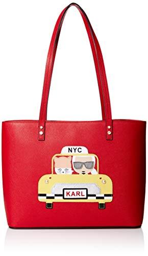Karl Lagerfeld Paris Damen Maybelle Taxi Tote Tragetasche, Crimson Combo, Einheitsgröße