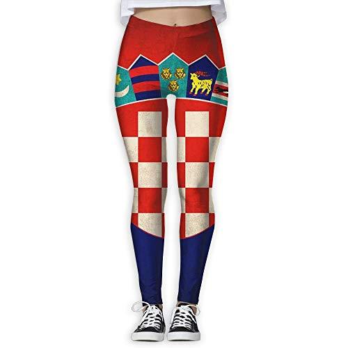Croatia Flag Vintage Distressed Design Women's Sports Running Yoga Workout Leggings Pants Pants,S