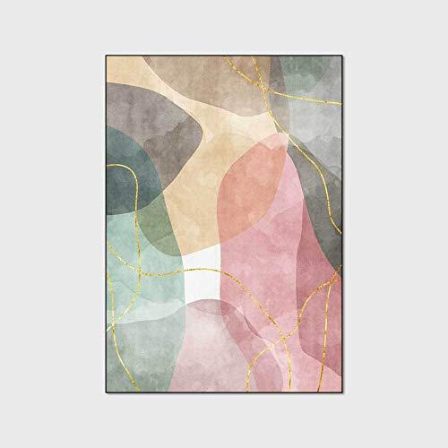 WIVION Alfombra Moderna Acuarela Rosa Verde Alfombra para Niña Personalidad Alfombra para Habitación De Niños Alfombrillas para Ejercicio Alfombrilla para Sala De Estar,120x160cm(47x63inch)