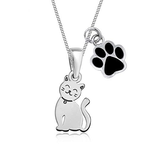 Pfötchen Katze Anhänger mit Halskette 925 Echt Sterling Silber Kätzchen Kette für Mädchen Kinder (Pfote Schwarz, 40)