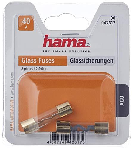 Hama Fusibles en Verre (fusible de voiture, 40A, 10 x 38mm, plaqué or, 2 pièces) Or/Transparent