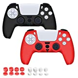2 Pack PS5 Controller Skin Covers Xmas Gifts for Men Women Hubby Wife Friends Grip Protector with 16 pcs Thumb Grip Caps for Sony Playstation 5 Anti-Slip Silicone