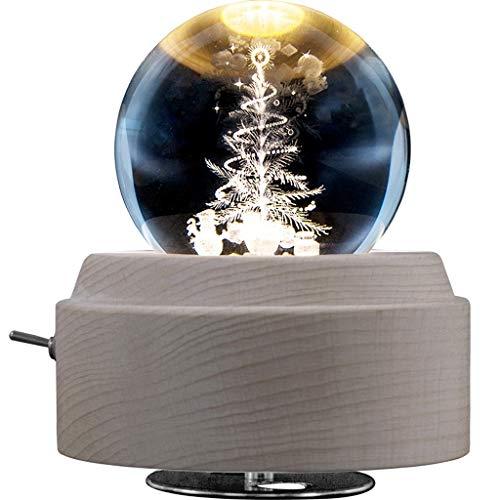 Caja de Música Árbol de Navidad 3D caja de música de la bola de cristal luminosa giratoria de la caja musical con luz LED y base de madera de juguete de regalo for los niños niñas para el Festival