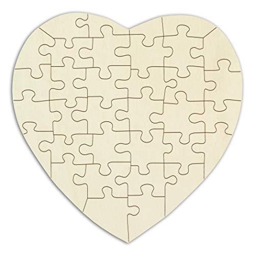Kopierladen Holzpuzzle Herz zum bemalen und selbst gestalten, leeres Puzzle aus Schichtholz in Herzform, 34 Teile, ca. 20 x 20 cm, inkl. Puzzlevorlage